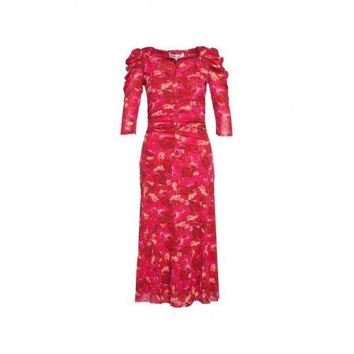 Diane Von Furstenberg Damen Midikleid Butterfly Wing Pink
