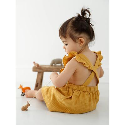 Mädchen Baby Latzkleid, Musselin senfgelb Gr. 74 von vertbaudet