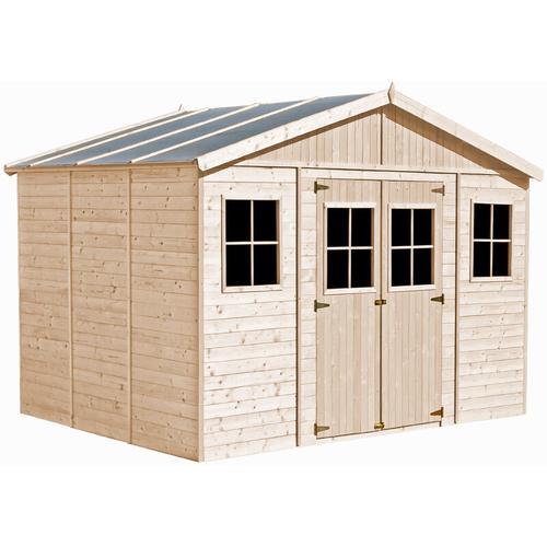Holz Gartenschuppen - Abstellkammer mit Fenstern - 418x318 cm/12 m² Naturholz-Shiplap-Schuppen