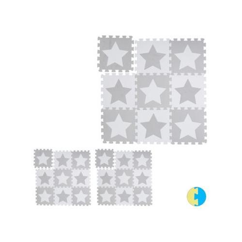 27 x Puzzlematte Sterne Kinderspielmatte Krabbelunterlage Puzzleteppich Play Mat weiß-kombi