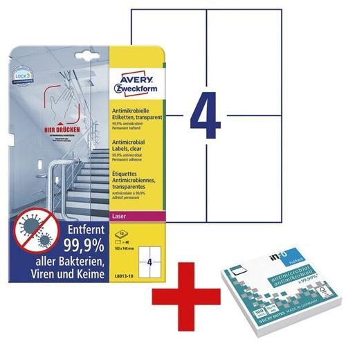 Antimikrobielle Etiketten 105x148 mm - 40 Stück inkl. Antimikrobielle Haftnotize transparent, Avery Zweckform