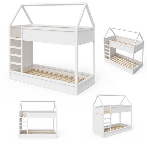 VITALISPA Hochbett Massimo Kinderbett Etagenbett Doppelstockbett Holzbett Weiß