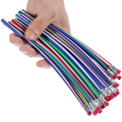 Crayons souples flexibles colorés avec gomme, fournitures scolaires et de bureau, fournitures de