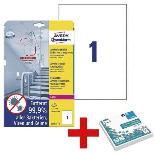 Antimikrobielle Etiketten 210x297 mm - 10 Stück inkl. Antimikrobielle Haftnotize transparent, Avery Zweckform