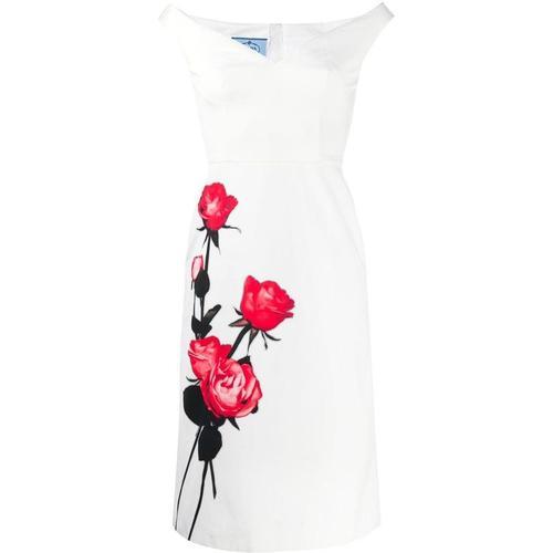 Prada Schulterfreies Kleid mit Print