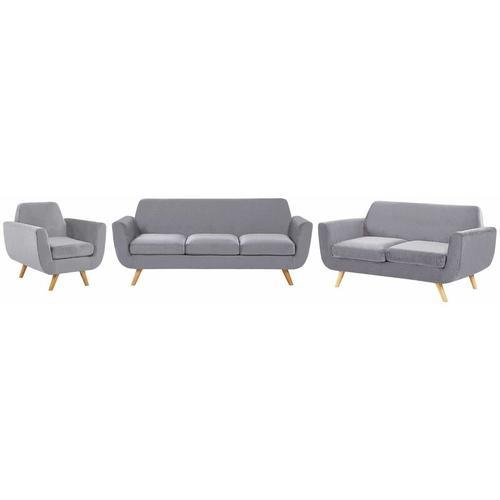 Beliani - Sofa Set Grau Samtstoffbezug 3-Sitzer 2-Sitzer und Sessel Retro Stil mit Holzbeinen