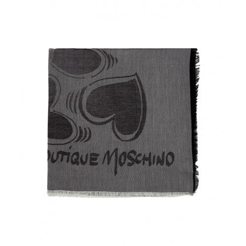 Moschino Damen Schal mit Herzmotiv Grau