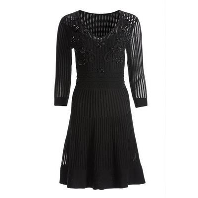 Boston Proper - Three-Quarter-Sleeve Embellished Sweater Dress - Black - Xx Small