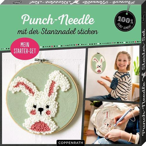 Punch Needle Hase, weiß