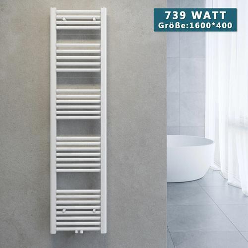 Handtuchtrockner Heizkörper Handtuchwärmer Badheizkörper Heizung Weiß 1600x400mm