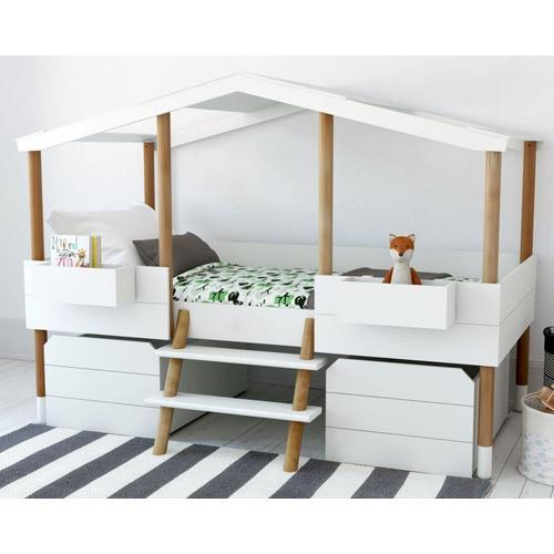 BLN Kids »Piloti v2« Kinderbett weiß, natur / ohne Schubladen