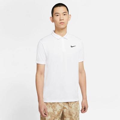 NIKE Herren Tennis Poloshirt Victory Kurzarm, Größe XL in Weiß