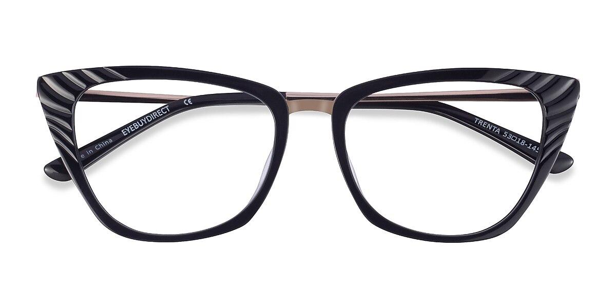 Female's Horn Black Gold Metal Prescription eyeglasses - EyeBuydirect's Trenta