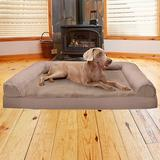 FurHaven Plush & Suede Cooling Gel Bolster Dog Bed w/Removable Cover, Almondine, Jumbo Plus