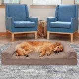 FurHaven Plush & Suede Cooling Gel Bolster Dog Bed w/Removable Cover, Almondine, Jumbo