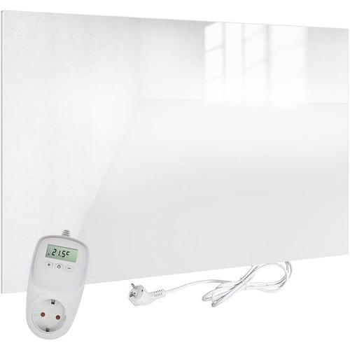 VIESTA H450-GW Glas Infrarotheizung 450 Watt, weiß, mit Ein-Ausschalter + VIESTA TH10 Thermostat