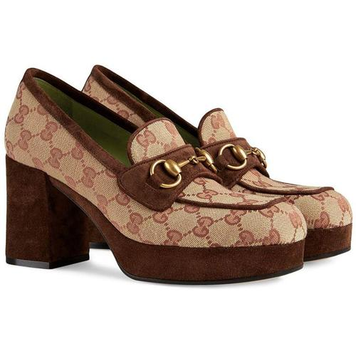 Gucci Plateau-Loafer mit GG-Muster