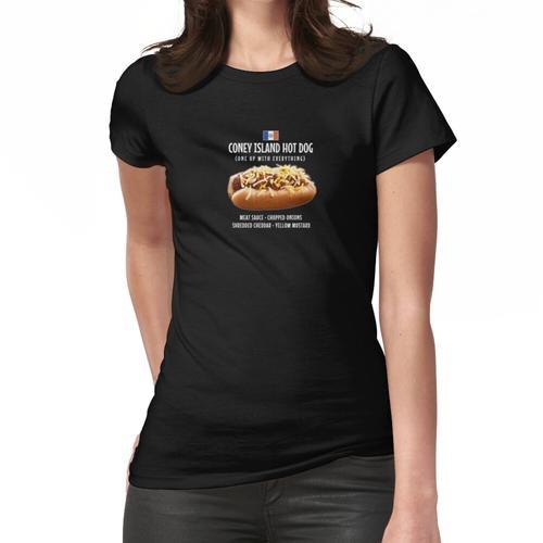 Coney Island Hot Dog Fleisch Sauce Zwiebeln Cheddar Senf NYC Frauen T-Shirt