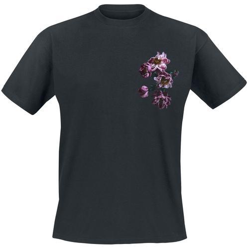 gingercat Pfingstrosen Herren-T-Shirt - schwarz