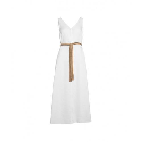 Ottod ame Damen Maxi Kleid aus Leinen Weiß