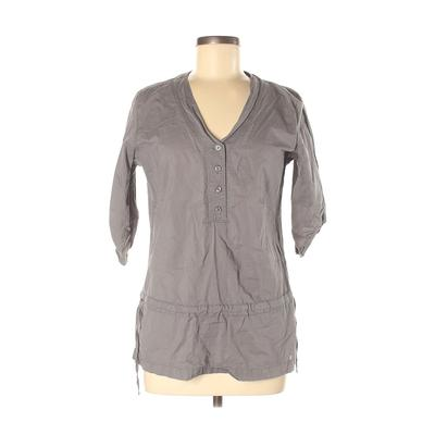 Merrell 3/4 Sleeve Button Down Shirt: Gray Solid Tops - Size Medium