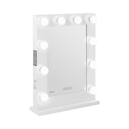 physa Hollywood-Spiegel - weiß - 10 LEDs - eckig - Lautsprecher PHY-CMS-9 WHITE