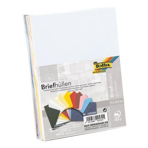 Farbige Briefumschläge 11 x 15,5 cm ohne Fenster mit Nassklebung - 50 Stück weiß, folia, 15.5x11 cm