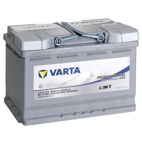 VARTA PROFESSIONAL Versorgungsbatterie, AGM Akku 12V/ 70Ah