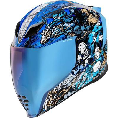 Icon Airflite 4Horsemen Helm, schwarz-weiss-blau, Größe M