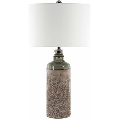 """Kawerau 32""""H x 16""""W x 16""""D Traditional End Table Lamp Taupe/White/Nickel/Pewter/Translucent Table Lamp - Hauteloom"""