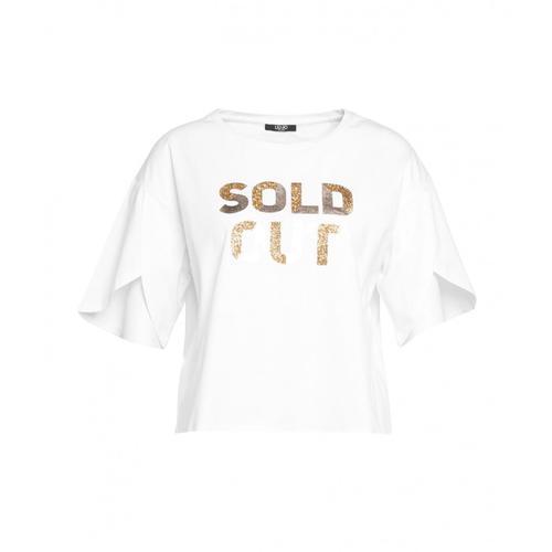 Liu Jo Damen T-Shirt mit Glitzer-Slogan Weiß