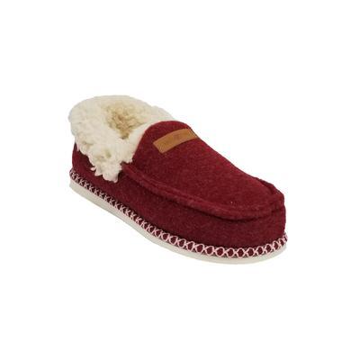 Women's Faux Wool Felted Mocassin Slipper Slippers by GaaHuu in Ruby (Size MEDIUM 7-8)