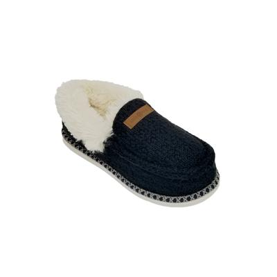 Women's Textured Knit Mocassin Slipper Slippers by GaaHuu in Black (Size LARGE 9-10)