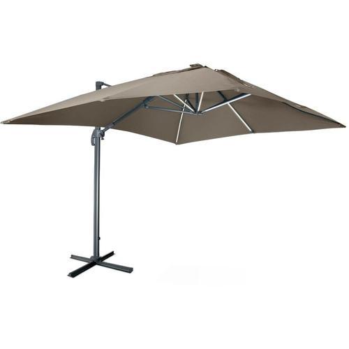 Qualitativ hochwertiger rechteckiger LED-Solar- Sonnenschirm 3 x 4 m - Luce Taupe - kippbar,