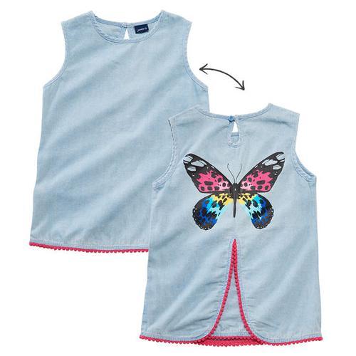 Jeansbluse Schmetterling, blau, Gr. 116/122