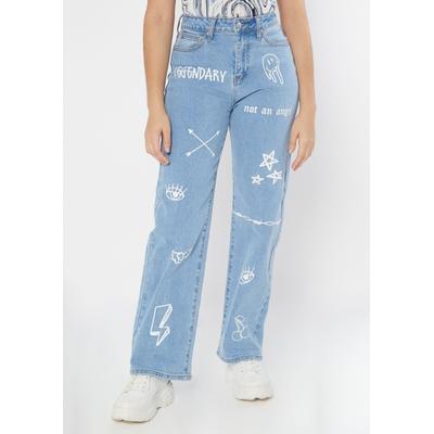 Rue21 Womens Light Wash Doodle Print Super High Waisted Skater Jeans - Size 8