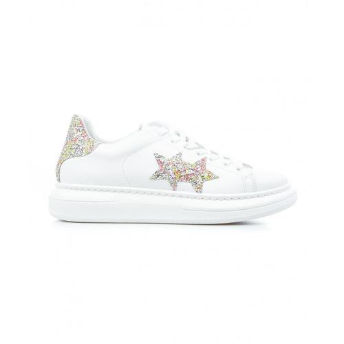 2 Star Damen Sneaker mit Glitzersternen Weiß