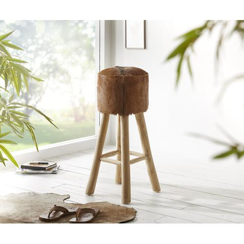 DELIFE Barstuhl Koza 77x36 cm Ziegenfell Braun Teakholz, Sitzhocker / Sitzwürfel