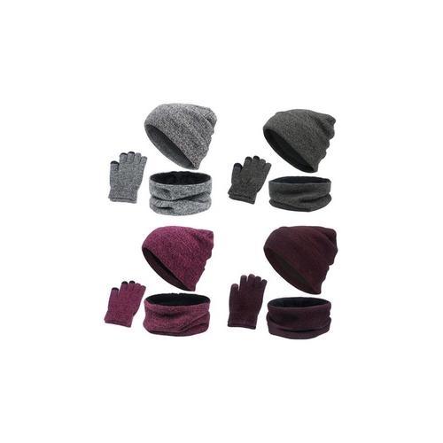Accessoires-Set für den Winter: Dunkelgrau und Lila / 2