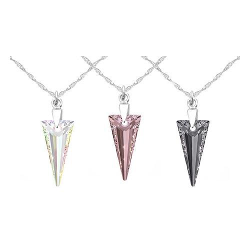 1x Halskette mit Swarovski®-Kristall: 18 mm/ AB