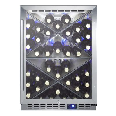 """Summit SCR610BLXCSS 24"""" One Section Wine Cooler w/ (1) Zone - 40 Bottle Capacity, 115v"""