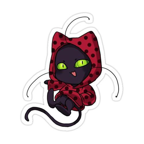Kwami Plagg in Ladybug Hoodie Sticker
