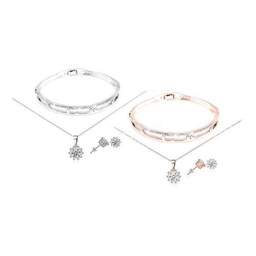 3-teiliges Schmuck-Set mit Swarovski®-Kristallen: Silber