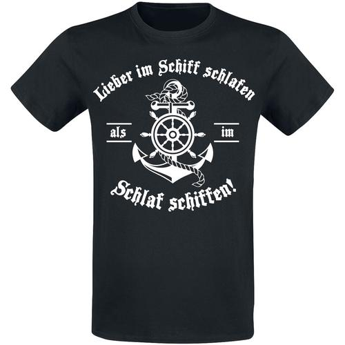 Lieber im Schiff schlafen Herren-T-Shirt - schwarz