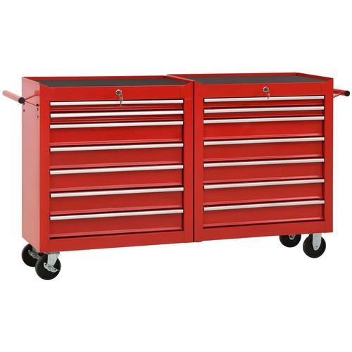 Werkzeugwagen mit 14 Schubladen Stahl Rot