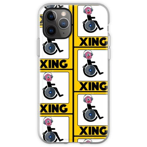 Lustige Rollstuhl-Strichmännchen DJ-Kreuz-Zeichen Flexible Hülle für iPhone 11 Pro