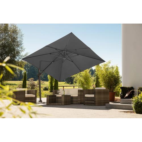 Schneider Schirme Ampelschirm Rhodos Twist, mit Schutzhülle, ohne Wegeplatten schwarz Sonnenschirme -segel Gartenmöbel Gartendeko