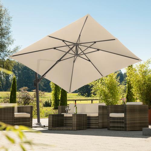 Schneider Schirme Ampelschirm Rhodos Twist, natur, quadratisch, ohne Wegeplatten beige Sonnenschirme -segel Gartenmöbel Gartendeko