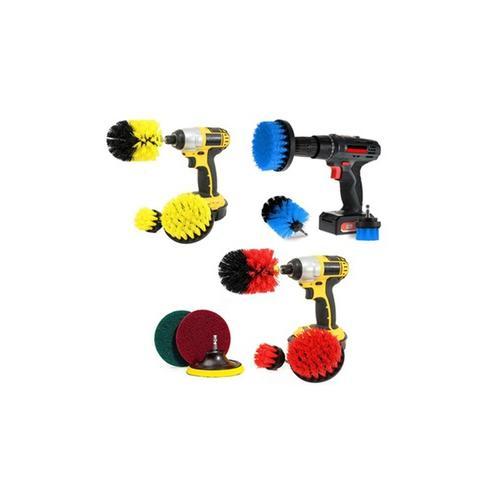 Bürstenaufsätze für die Bohrmaschine zur Reinigung: 6er-Set / Gelb