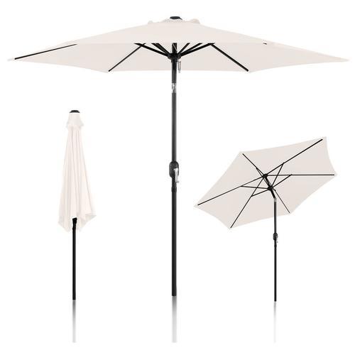 Sonnenschirm Ø300cm Alu Marktschirm Gartenschirm mit Kurbel Terrassenschirm Sonnenschutz UV Schutz
